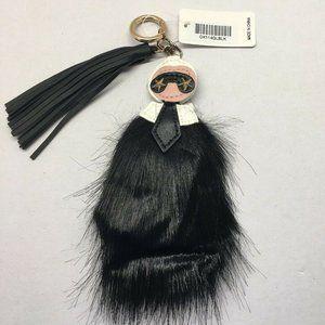 Karl Lagerfeld Faux Fur Fox Tail Tassel KeyChain